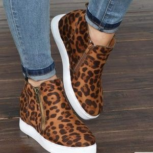 Shoes - Faux suede leopard animal prints wedge bootie